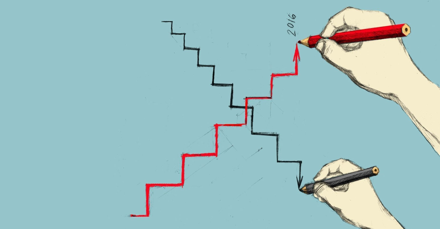 Image: hand drawing step going upward
