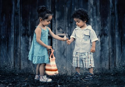 Image: Small girl offers boy a flower