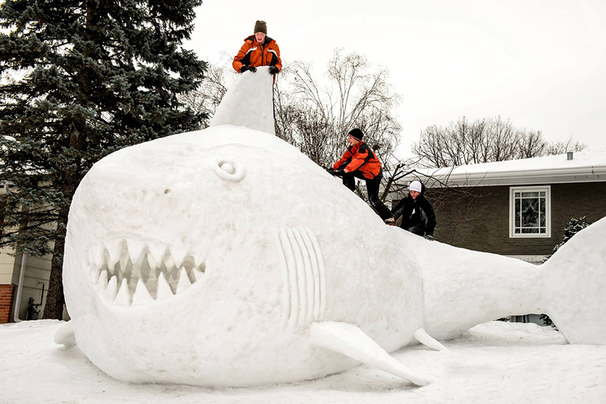 Image: Shark snow sculpture 1