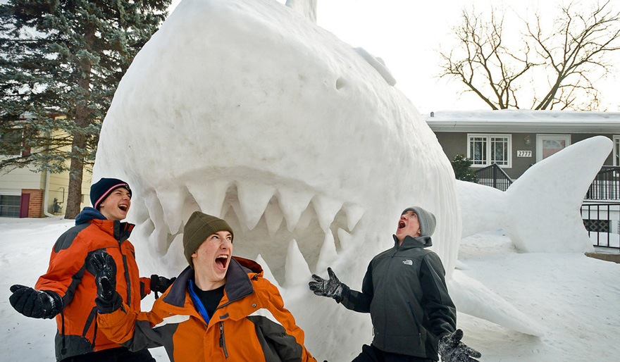 Image: Shark snow sculpture 2