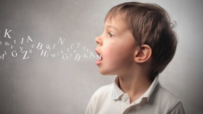 Image: letters coming from a childs mouth