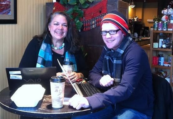 Image: Two people having coffee