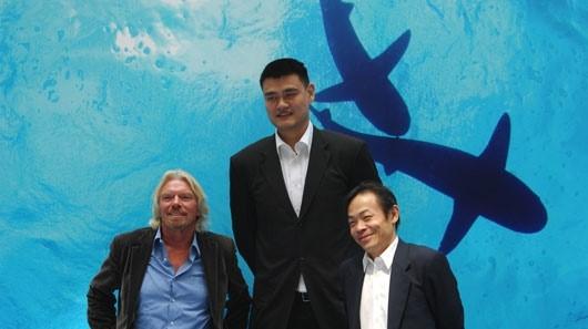 Image: Shark savers Richard Branson, Yao Ming, and Zhang Yue