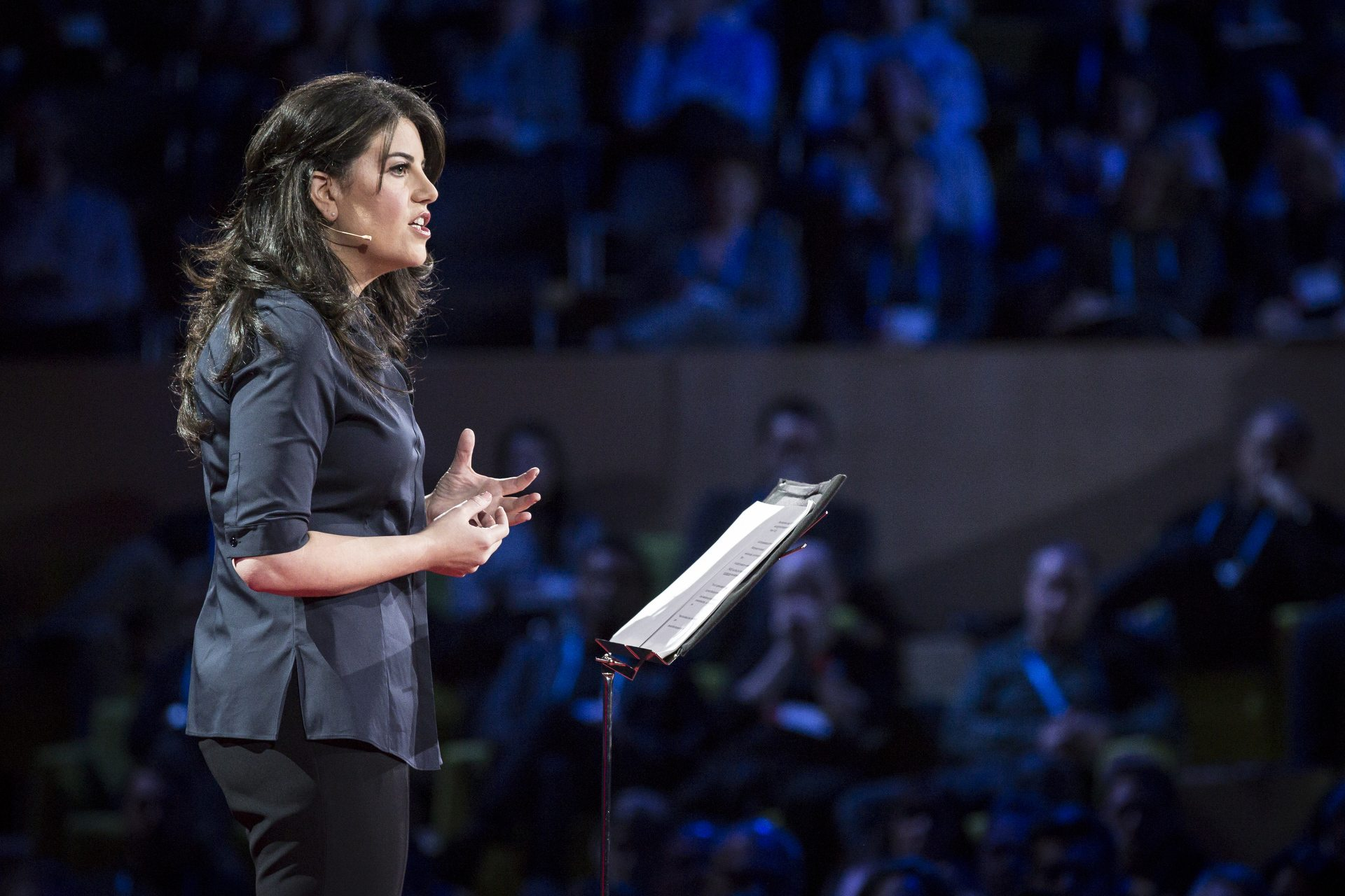 Image: Monica Lewinsky speaking at TED