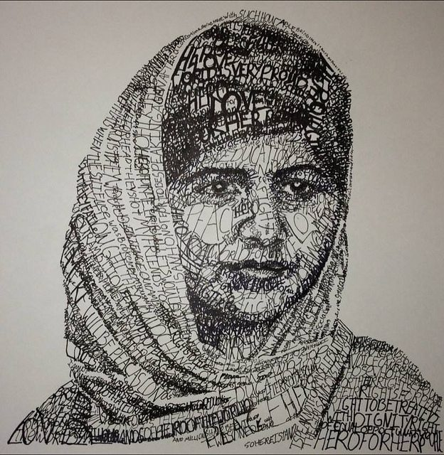 Image: A collage of words making up Malala's face