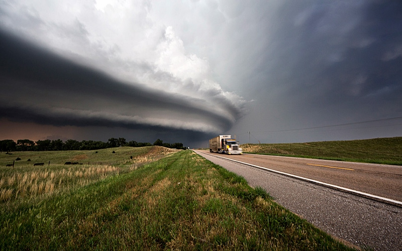 Image: Storm Front over taking Semi