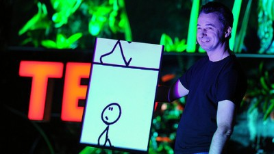 Image: Marco Tempest as he performs a TED Talk