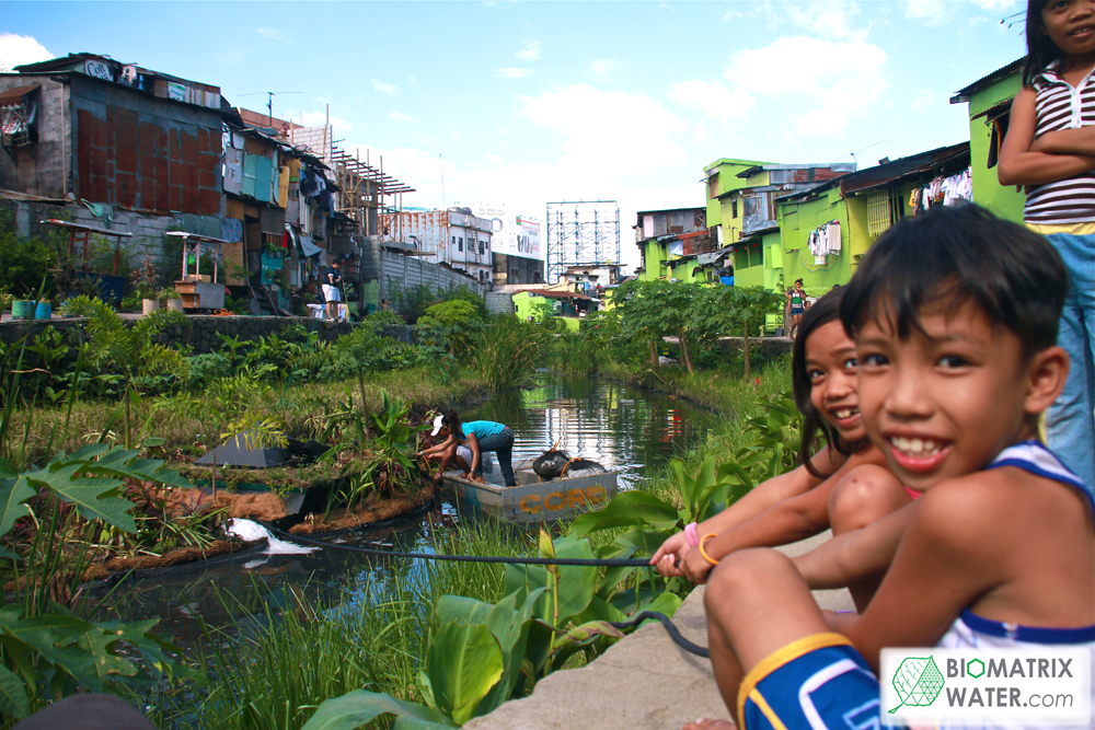 Image: Kids near waterway restoration