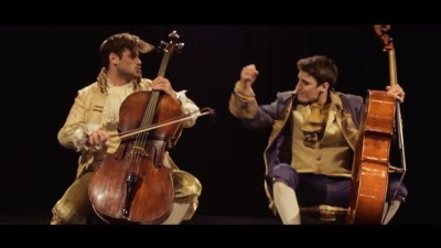 Image: 2CELLOS band mid-performance