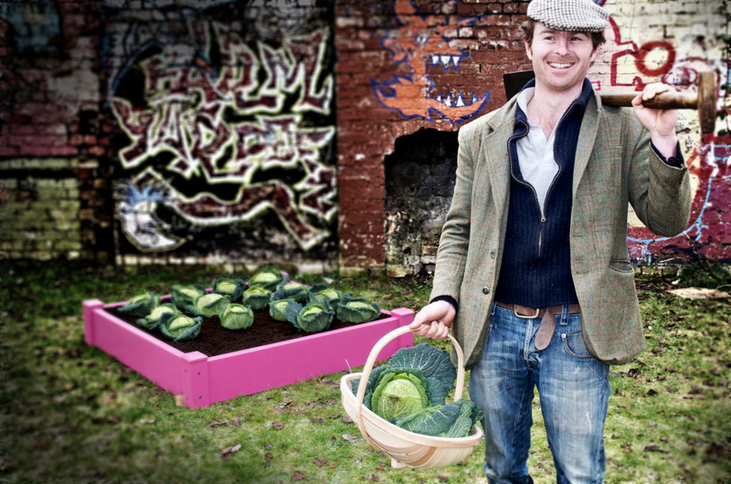 Image: A man carrying a shovel and a basket of cabbages in front of a graffitied brick wall next to a wooden pink planter box full of ready to pick cabbages