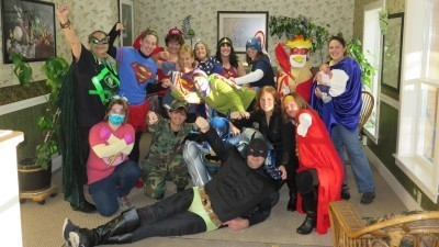 Image: Fiddlehead dental staff dressed as superheroes