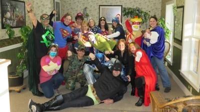 Image: Fiddlehead dental staff dressed as superheroes
