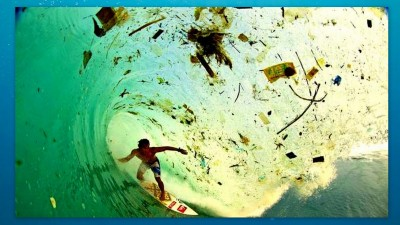 Image: surfing in garbage