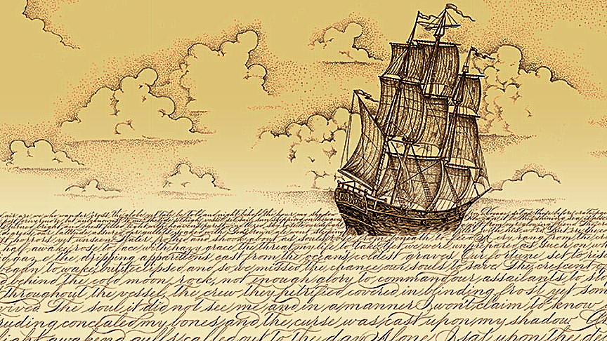 Image: drawing of a sailing ship in a sea of script (words)