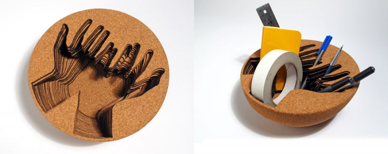 Image: Handmade bowl where you put the items into a hand-shaped carving in cork