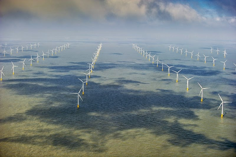 Image: Jason Hawkes ocean of wind energy generators from an aerial perspective