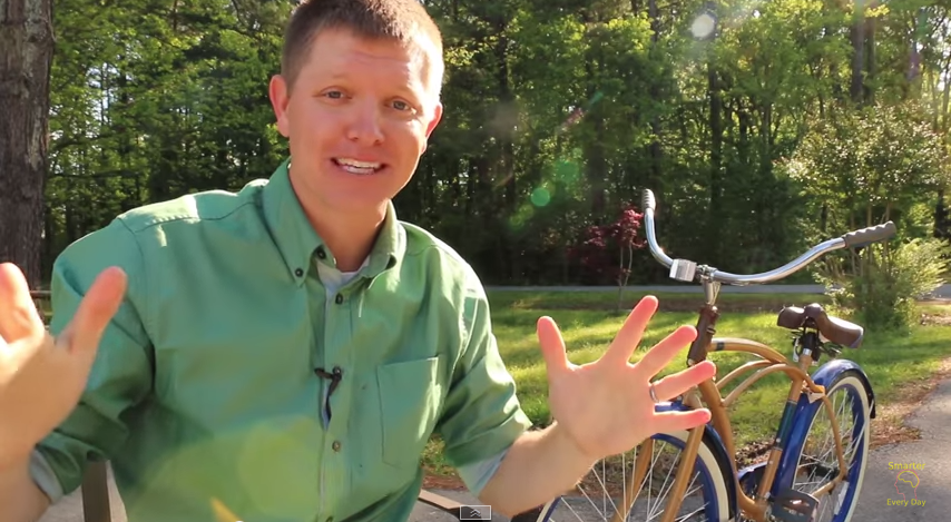 Image: Destin Sandlin explaining the backwards brain bicycle