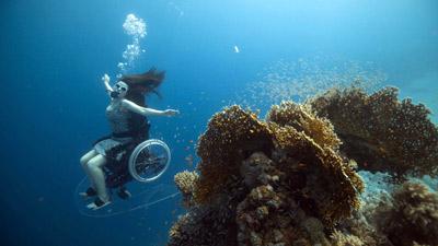 Image: Sue scuba diving in a wheel chair near a coral reef