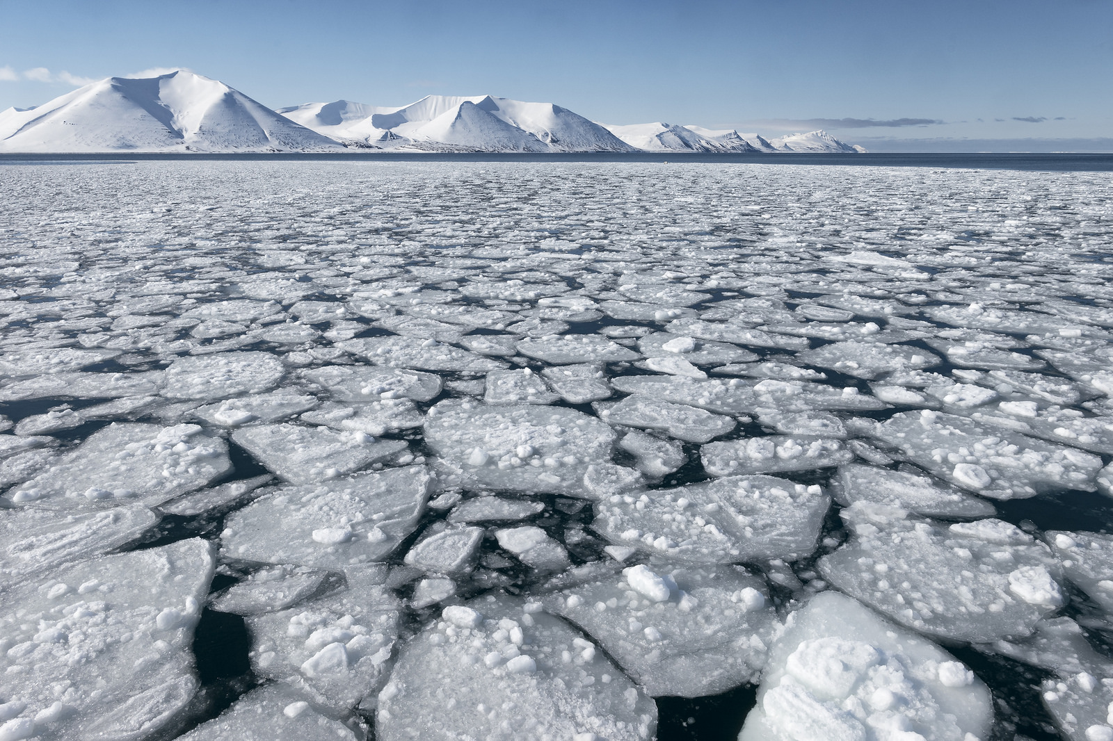Image: An icy body of water with snow covered mountains in the back