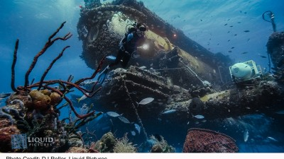 Image: sea life covered submarine