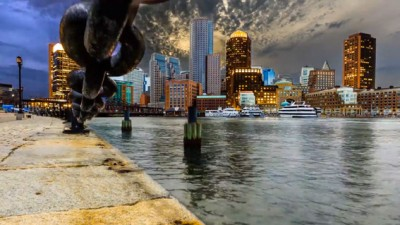 Image: layer-lapse photo of Boston across the water
