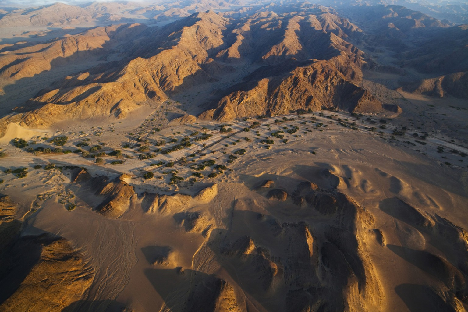 Image: Namibia; Namib Desert, Skeleton Coast, aerial view of Hoanib River valley, habitat for desert elephants
