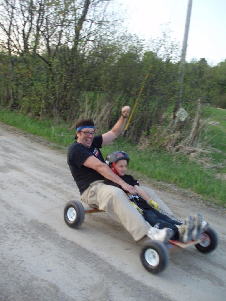 Image: Father and son on a go cart