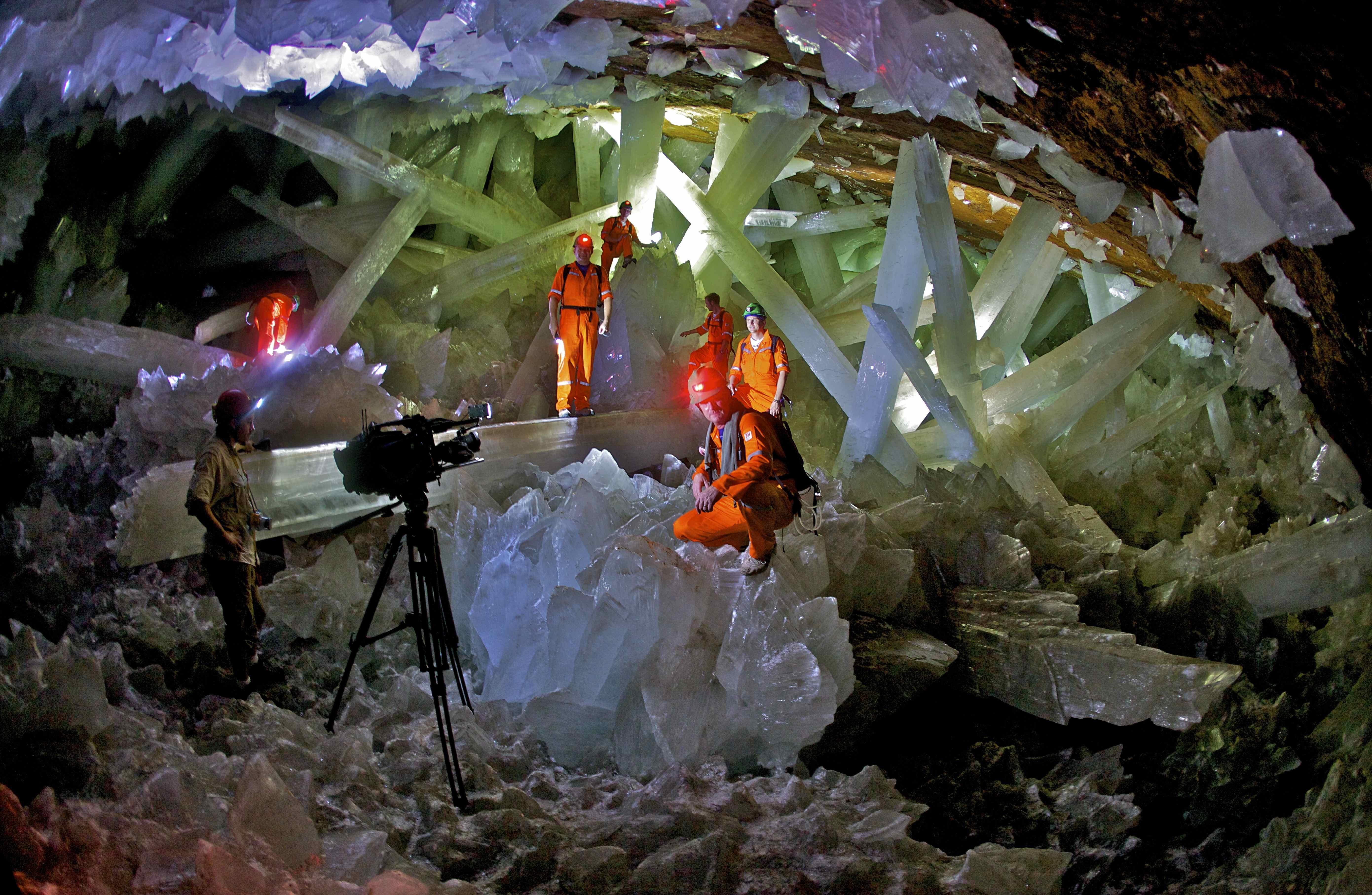 Crystal cave explorers