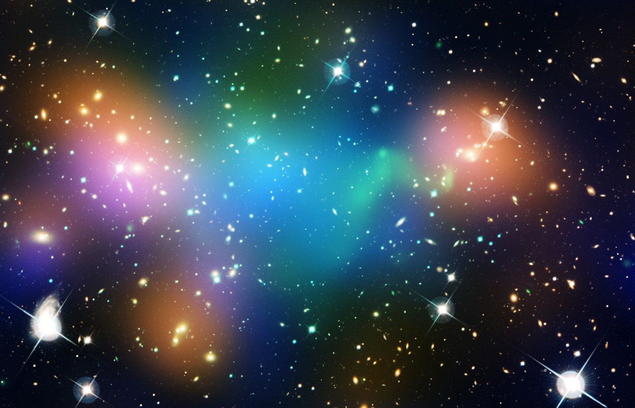 """Astronomers observed what appeared to be a clump of dark matter left behind during a bizarre wreck between massive clusters of galaxies."""