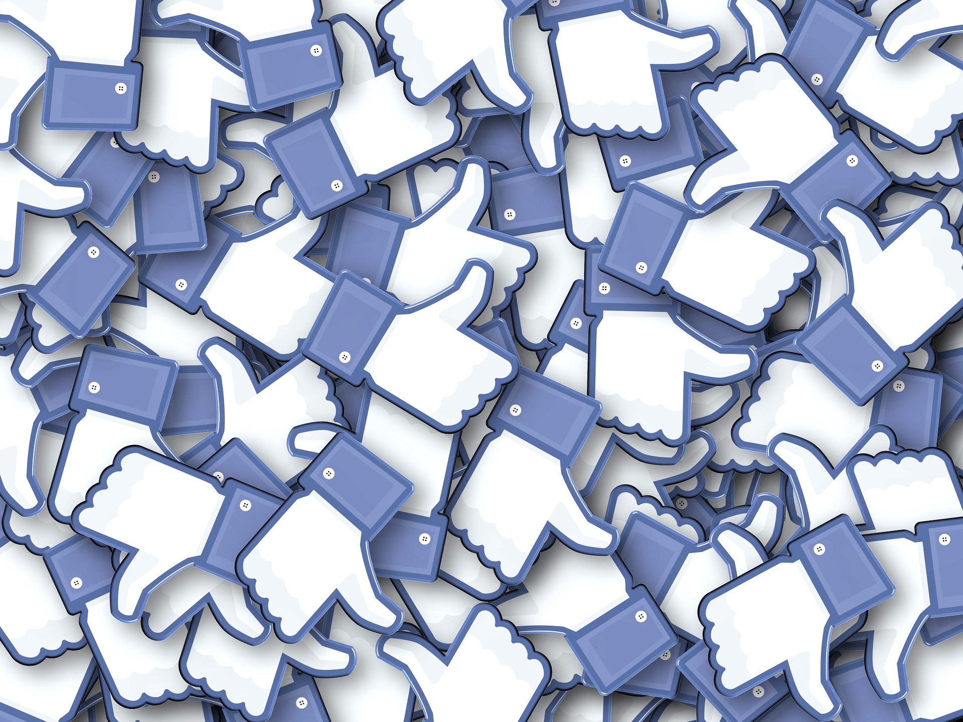 Image: many Facebook like buttons in a pile