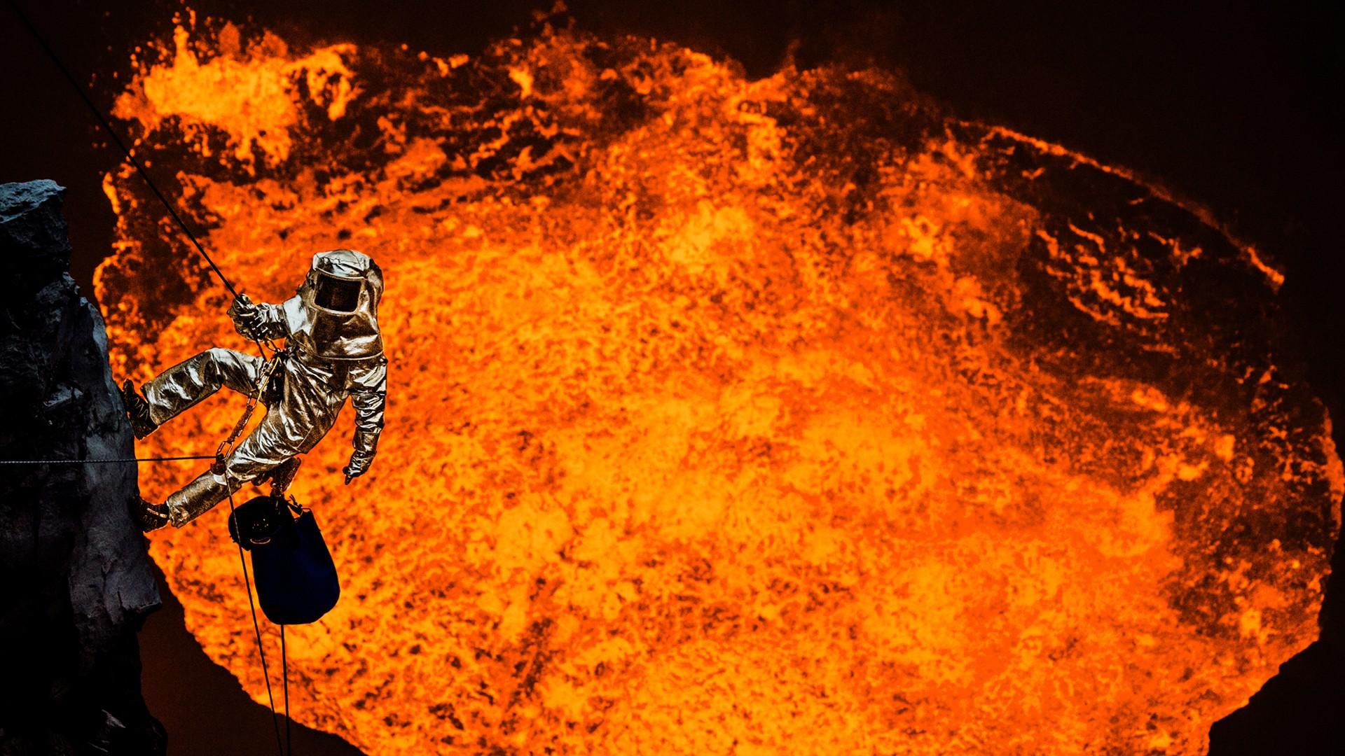 Sam Cossman Suspended Over a Lava Lake