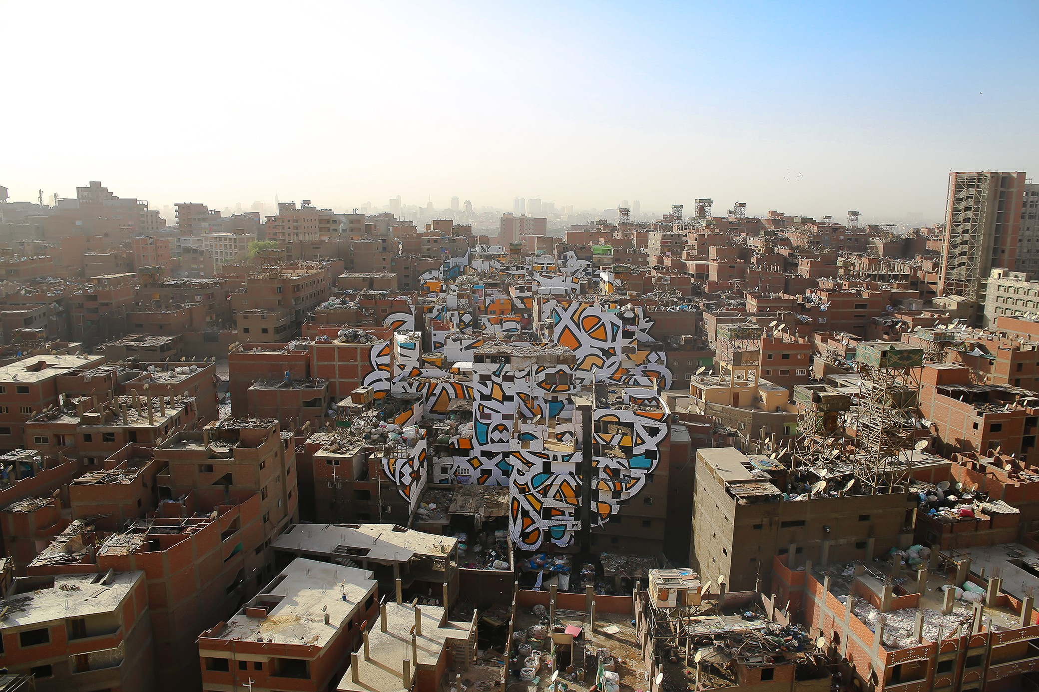 El Seed Calligraffiti on Zaraeeb. The view from Moqattam Mountain in Egypt