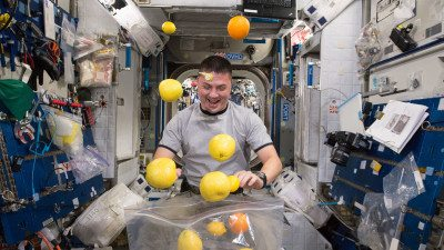living in space eating