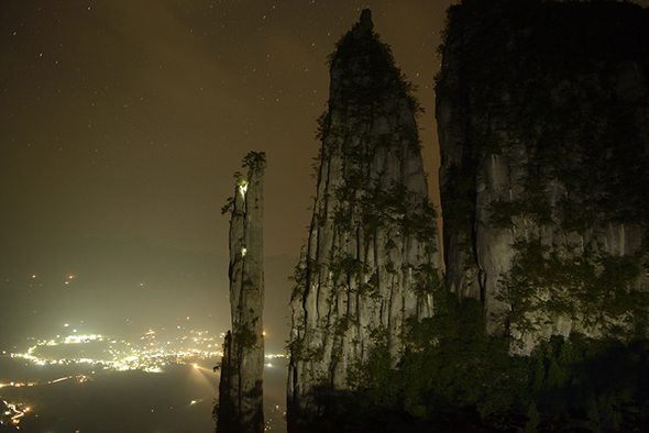 Image: On expedition with National Geographic climbers on a rock spire at night