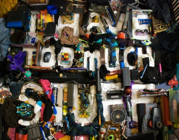 """Image: """"I have too much stuff"""" is written with stuff in a pile of stuff!"""