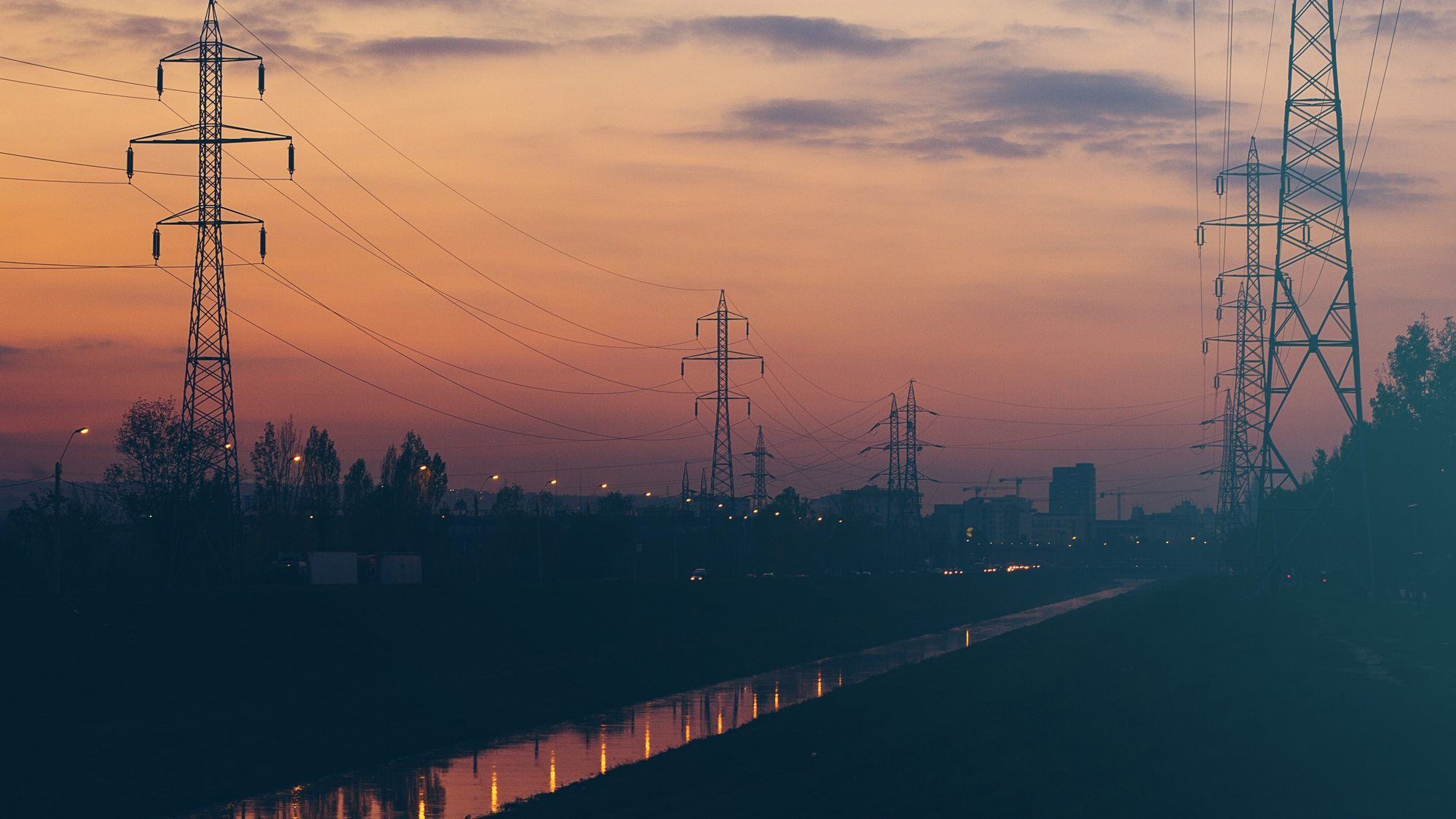 Image: Powerlines at sunset