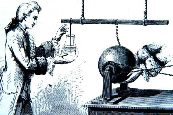 Image: A 17th C scientist using curiosity driven science to work with electricity