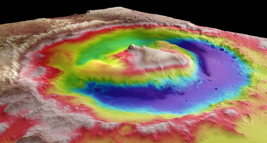 Image: Colored map of the Mars landscape around a crater taken from Curiosity Driven Science
