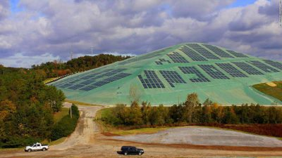 Image: View of a landfill potential project with solar panels