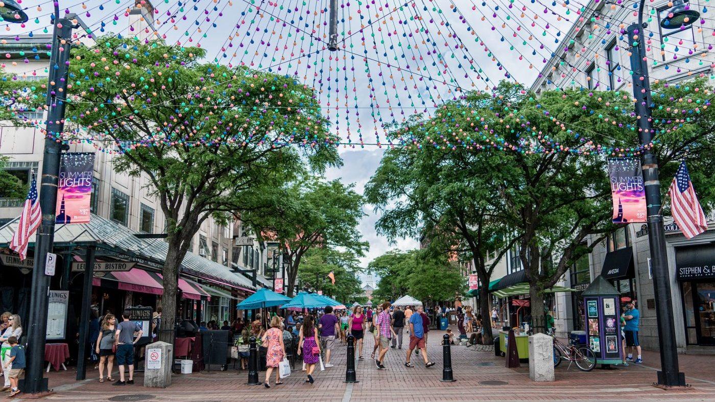 Image: People walking in Burlington, Vermont on Church Street