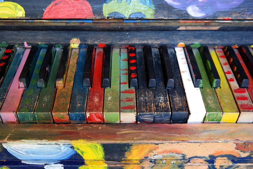 Image: Piano keys painted many different colors