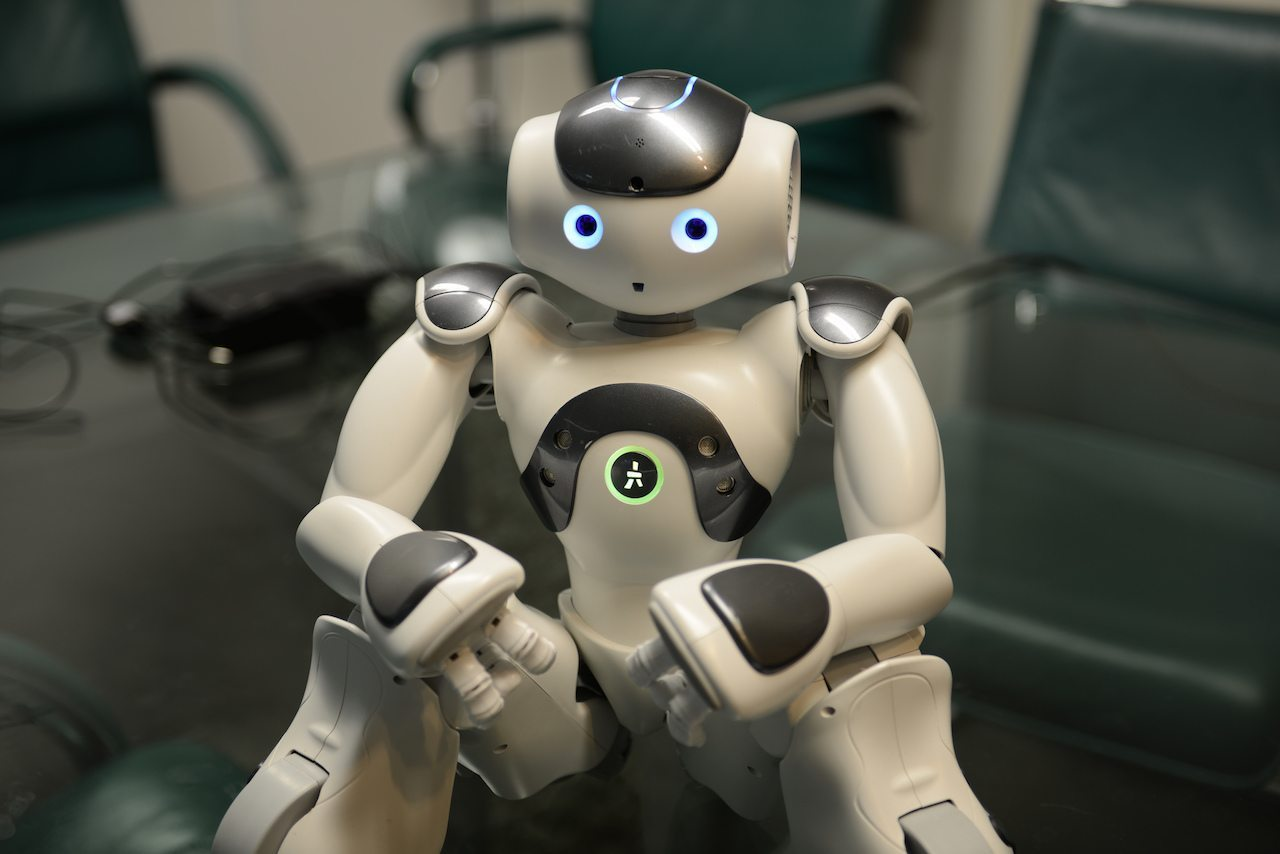 Image: Humanoid robot with a very cute expression looking at the camera