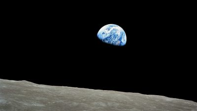 Image: The Big History Project represented by the Apollo 8 image of earth from the moon's horizon.