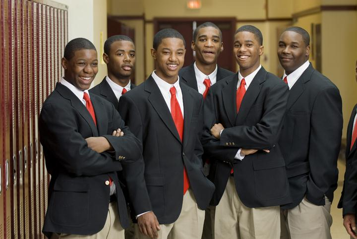 Image: Urban Prep students standing together at their school that is empowering students to succeed!