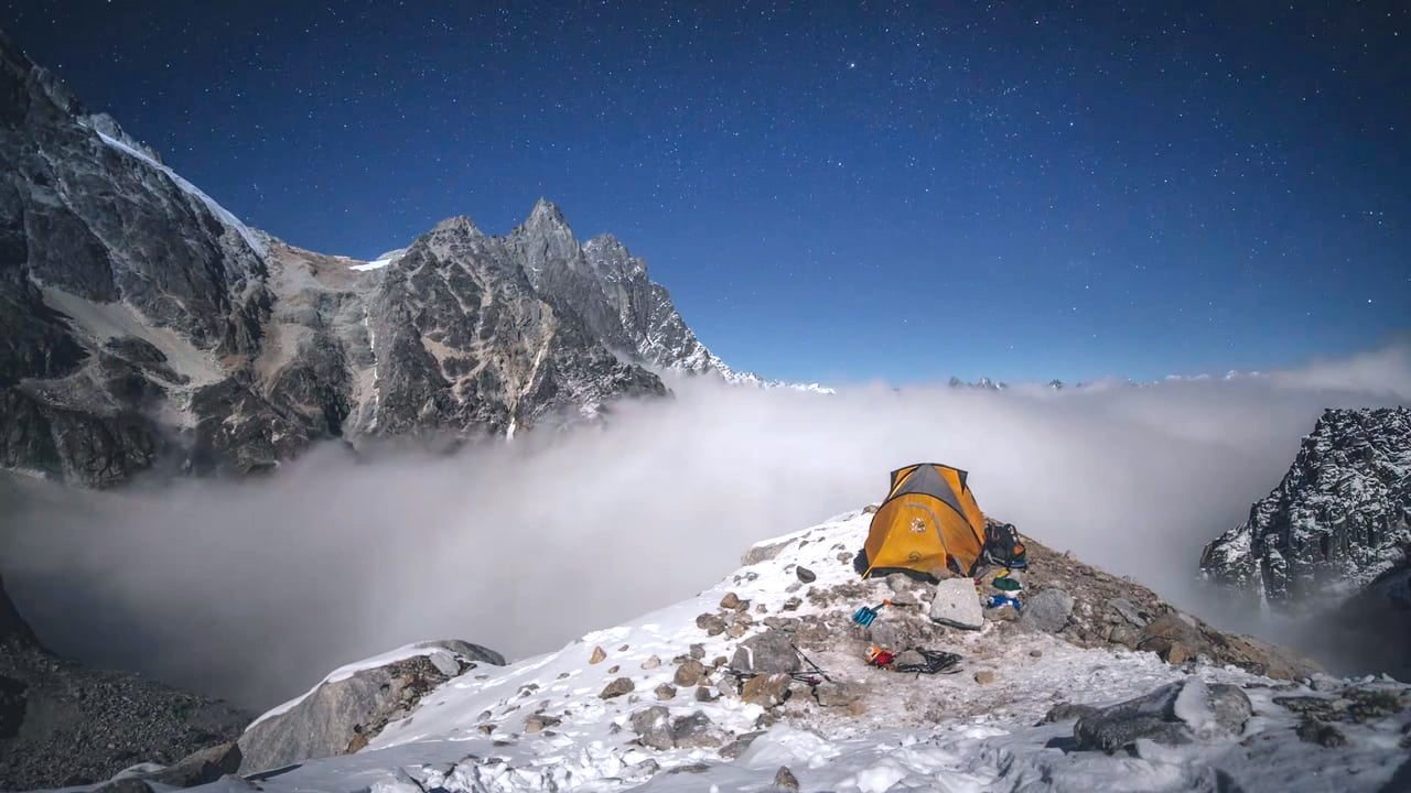Image: Tent on a cliff on Hkakabo Razi, Asia's Forgotten Mountain