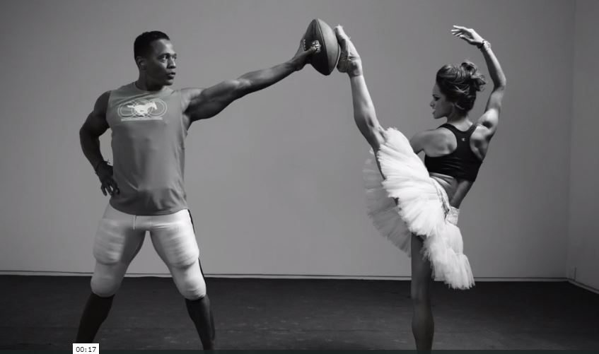 Image: Football player and ballet dancer spar with a football