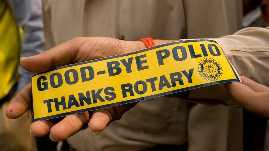 "Image: A bumper sticker that says ""Good by Polio, Thanks Rotary"""
