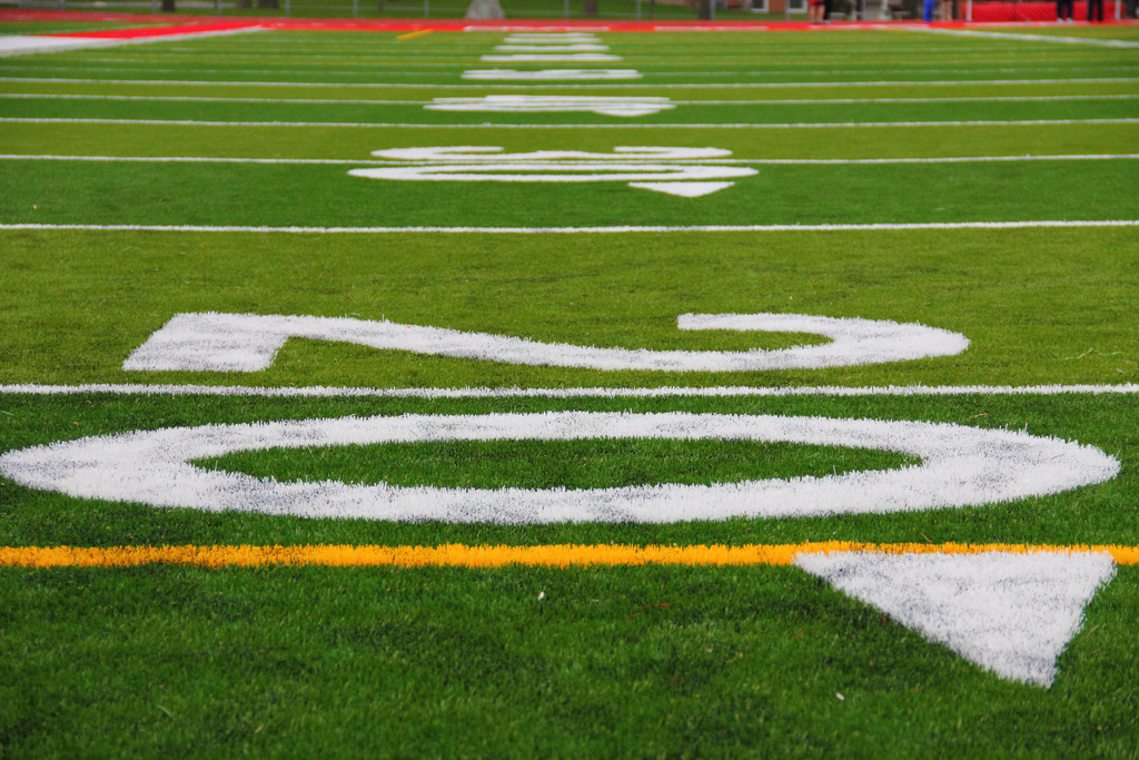 Image: Close up of a football field