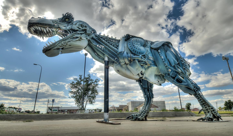 Image: T Rex Sculpture done in metal junk