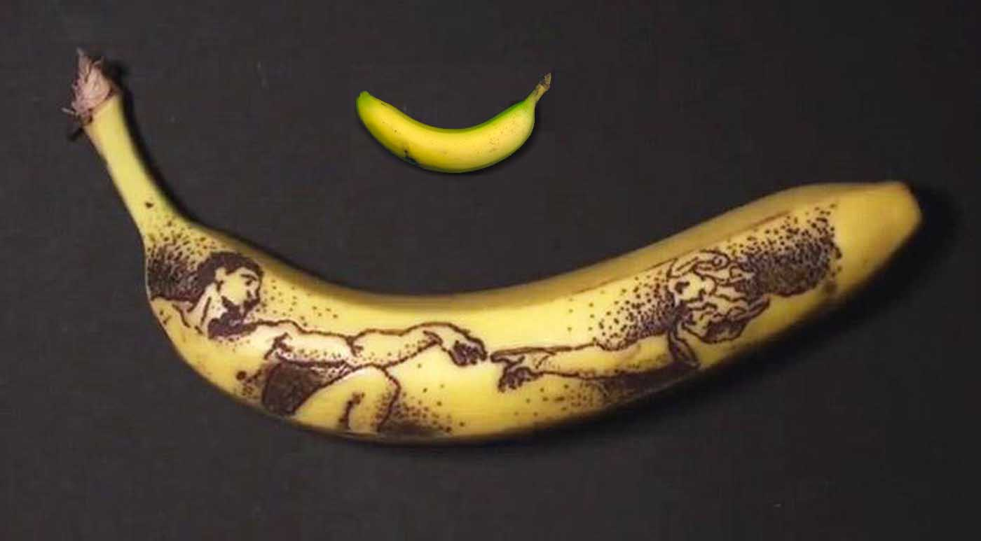 Image: A banana with tiny brown dots forming Michael Angelo's wisdom of man painting